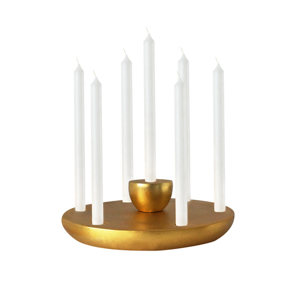 Discus Brass Stacking Candle Holder
