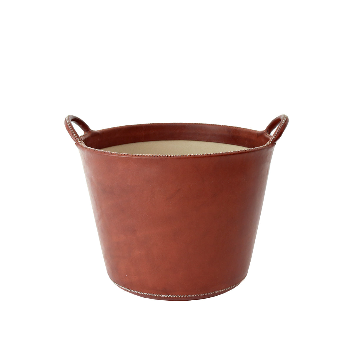 Small Leather Basket - Brown