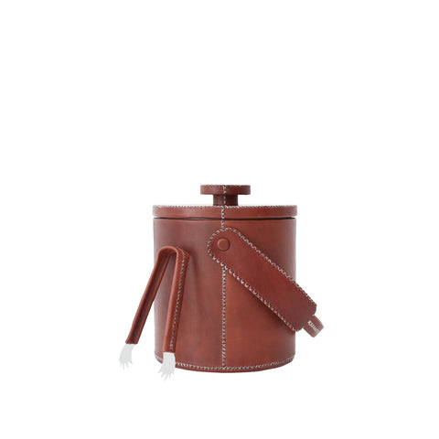 Small Ice Bucket With Tong - Brown