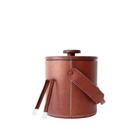 Medium Ice Bucket With Tong - Brown