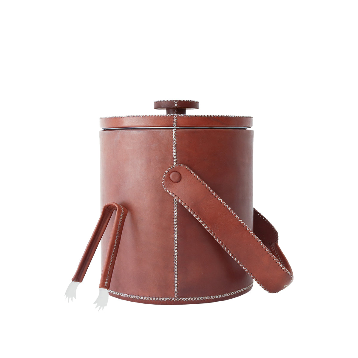 Large Ice Bucket With Tong - Brown