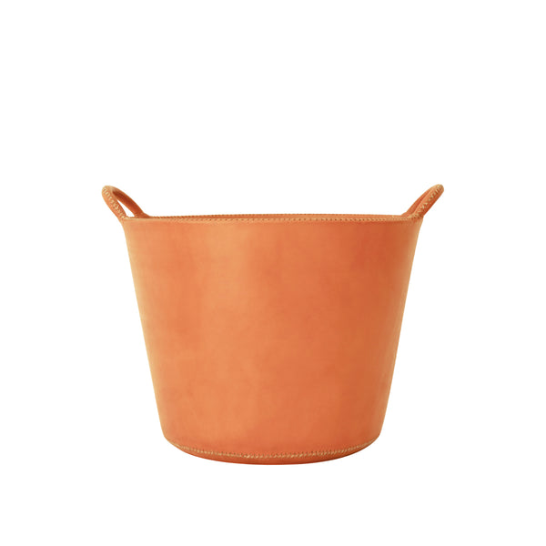 Small Leather Basket - Natural