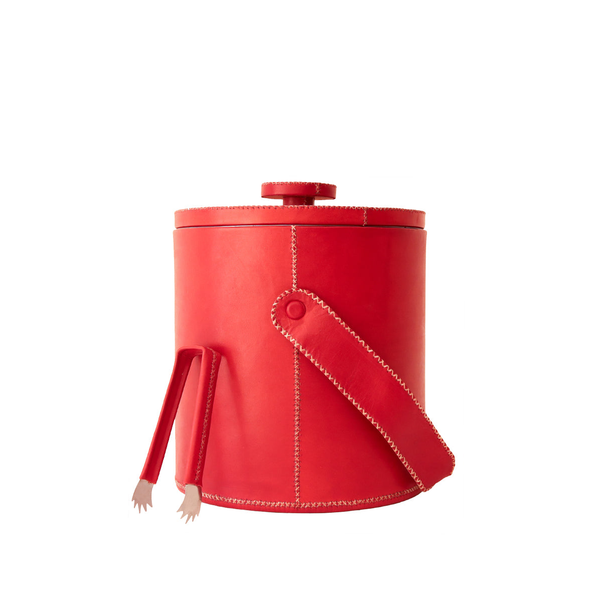 Large Ice Bucket With Tong - Red