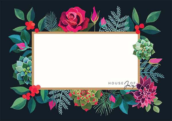 House of Jay | Greeting Card Black Floral