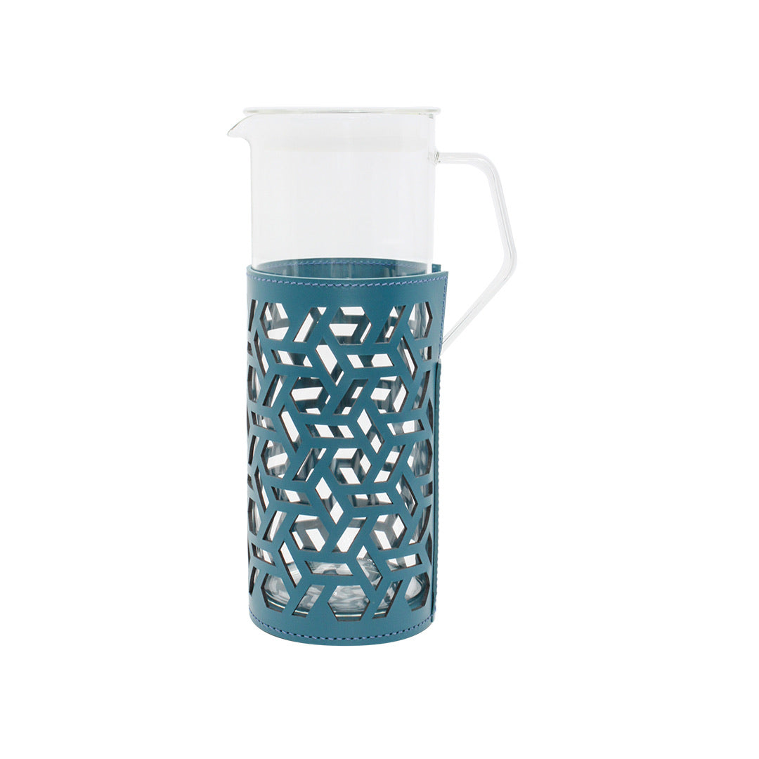 Trapani Glass Carafe - Petrol Blue