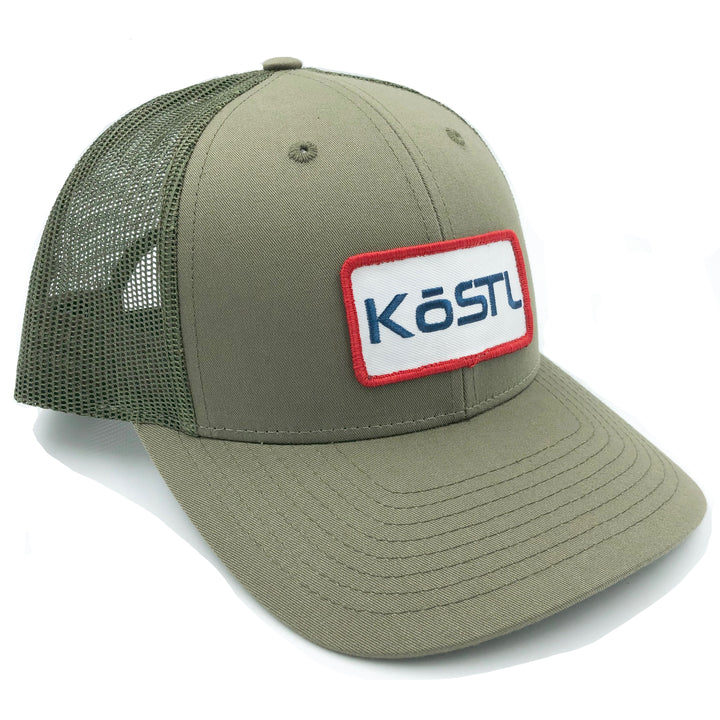 KōSTL LoPro Trucker - Olive with Red, White and Blue Patch