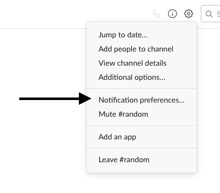 change your slack notification options screenshot