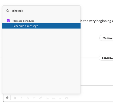 schedule messages using slack shortcuts example