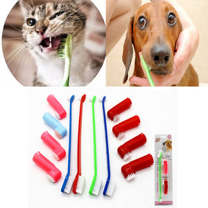 1Set Pet Cat Dog Tooth Finger Brush Dental Care