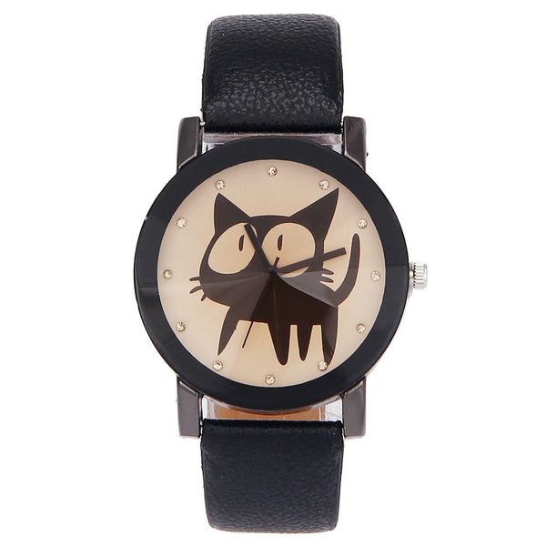Lucky quartz women cat crystal watch