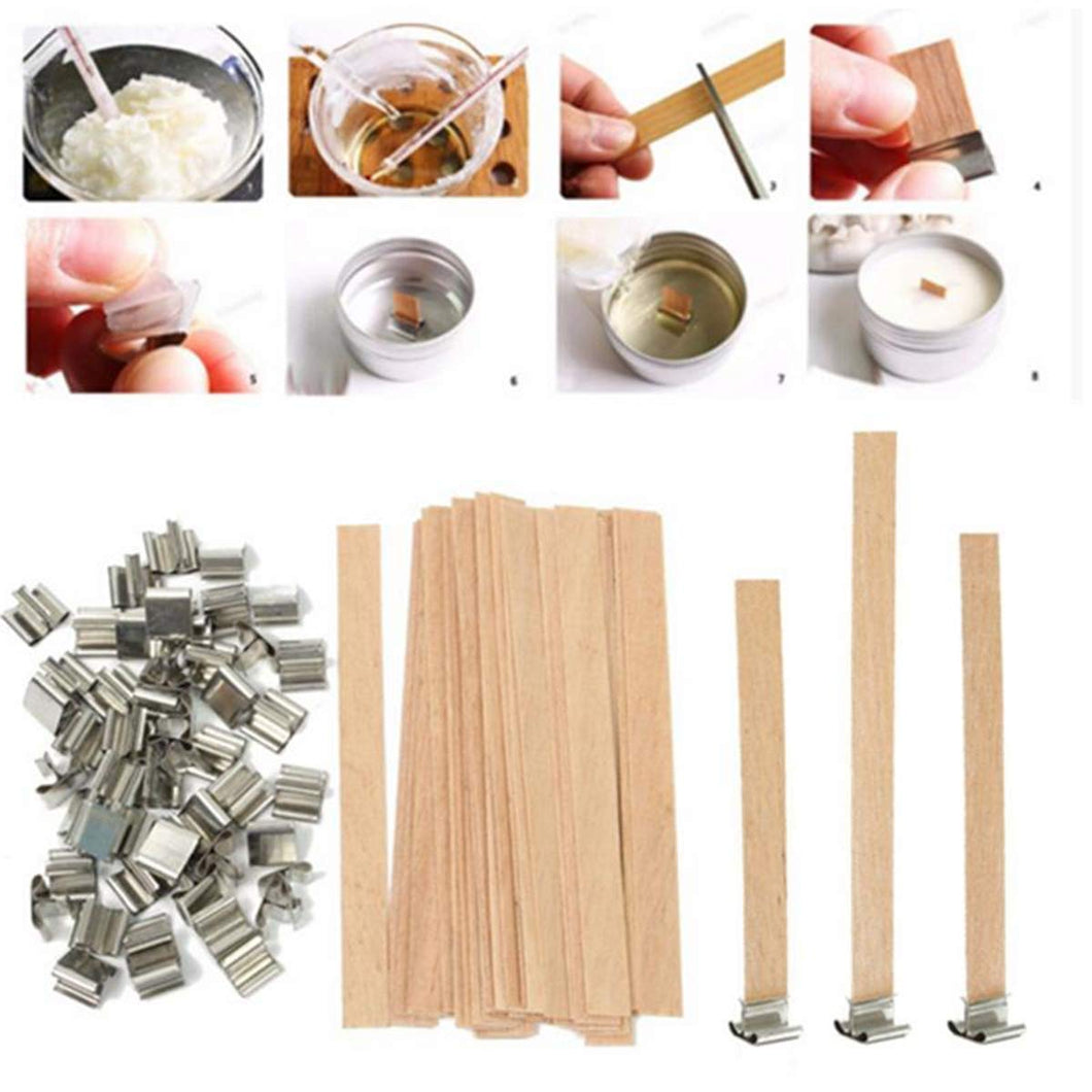 Wood Candle Wicks 50Pcs Natural Environmentally-Friendly Wick 6mm 8mm 12.5mm 13mm Wooden Candles Wick With Sustainer Tab Stands Candle Wick Core For DIY Craft Candle Making Supplies Soy Paraffin Wax