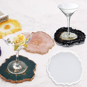 Resin Silicone Molds,DIY Wine Glasses Holder Resin Mold and 2 Resin Wine Coaster Molds,Used to Make Artificial Agate Sheet, Wine Rack, Coaster, Home Decoration Epoxy Resin Mold.