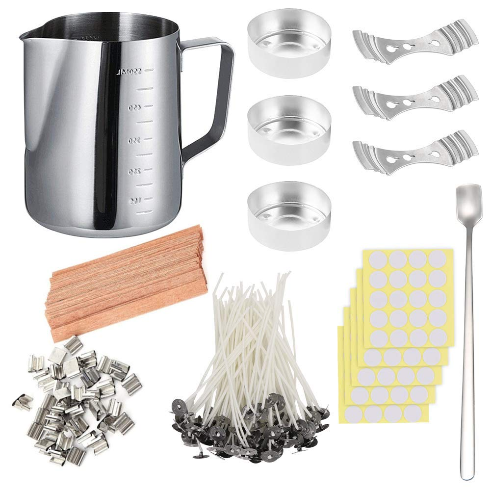 DIY Candle Making Set, 600ml Pouring Pot with Scale+100pcs Candle Wicks+20pcs Wood Candle Wicks with Metal Stands+100pcs Sticker+3pcs 3-Hole Holders+Stirring Spoon+3pcs Aluminum Molds, Low Smoke