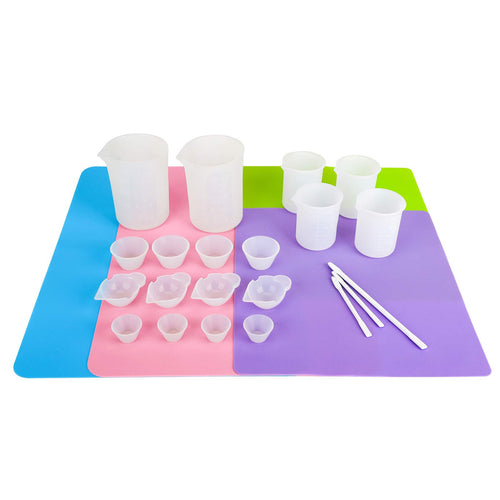 Gartful Epoxy Resin Tool Kit,4 Sheets Silicone Mats,2pcs 250ml(8 oz) and 4pcs 100ml Soft Measuring cups,12pcs Mixing Cups,3pcs Silicone Stir Sticks Spoons,Casting DIY Set,Pack of 25
