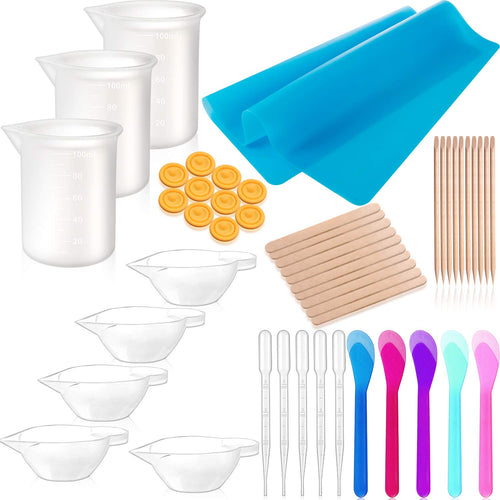 49 Pieces Resin Tools Set, Include A3 Large Silicone Sheet, 100 ml Measuring Cups, Silicone Mixing Cups, Wooden Sticks Mixing Spoons for Epoxy Resin Crafts Painting Supplies