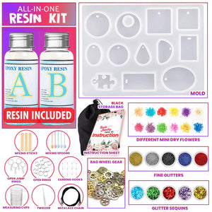 GoodyKing Resin Jewelry Making Starter Kit - Resin Kits for Beginners with Molds and Resin Jewelry Making Supplies - Silicone Casting Mold, Tools Set and Clear Epoxy Resin for DIY Jewelry Craft