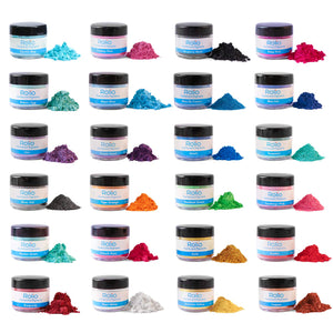 Rolio Mica Powder - 24 Colors x 10g/0.35oz - Epoxy Resin Color Pigment Powder for Slime, Clear Nail Polish, Makeup, Epoxy Resin, Candle Making, Bath Bombs, Soap Colorant, Cosmetic Grade