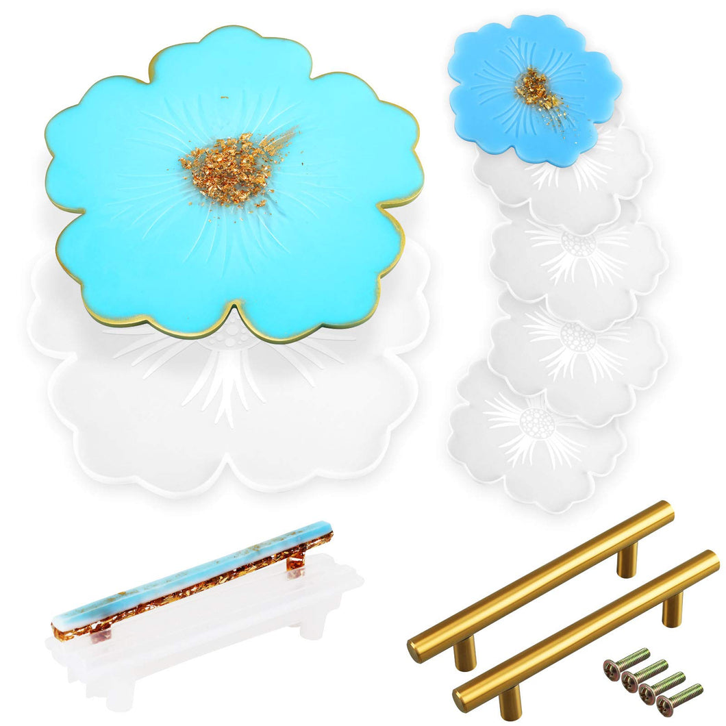 Large Resin Silicone Mold, 1pc Flower Tray Mold for Resin Casting, 4pcs Coaster epoxy Molds, 1pcs Handle Mould and 2pcs Golden Hanldes for Serving Tray, DIY Crafts and Holiday Gifts (8pcs)