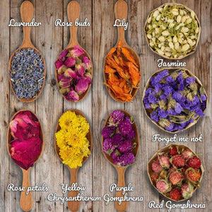 Miw Piw Natural Dried Flower- Gift Box - 9 Bags Floral Kit for Soap, Candle, Resin Jewelry Making, Bath, Nail, Decoration - Rosepetals, Rosebuds, Lavender, Jasmine, Gomphrena, Chrysantherum