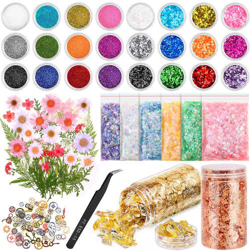 Resin Jewelry Making Supplies Kit, Thrilez Resin Decoration Kit with Resin Glitter, Gold Foil Flakes, Dried Flowers, Mylar Flakes, Resin Accessories and Supplies for Resin, Slime, Nail Art, DIY Craft