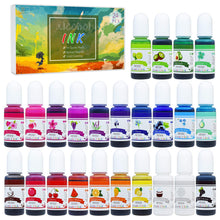 Alcohol Ink Set - 24 Vibrant Colors Alcohol-based Ink for Resin Petri Dish Making, Epoxy Resin Painting - Concentrated Alcohol Paint Color Dye for Resin Art, Tumbler Making, Painting - 24 x 10ml/.35oz