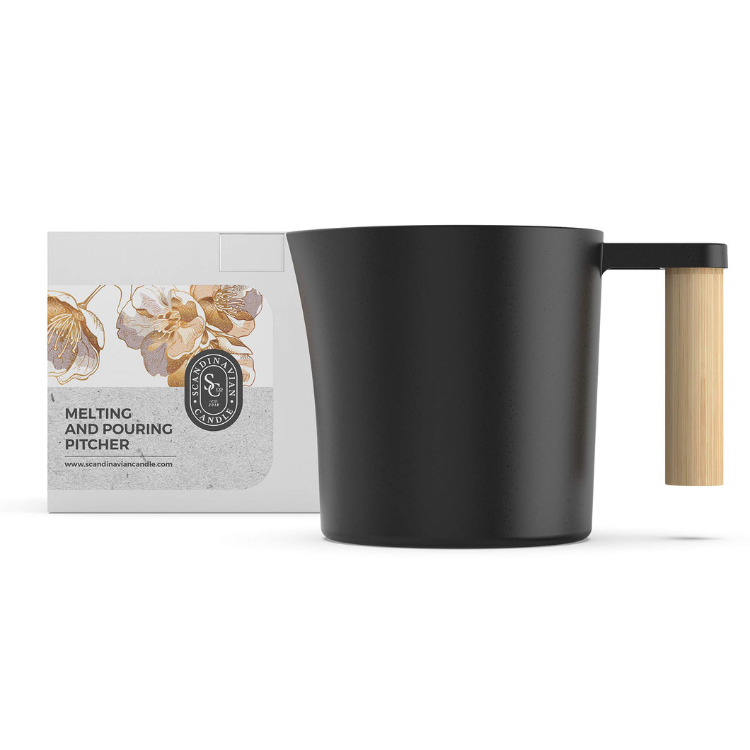 Candle Making Pouring and Melting Pot - Aluminium Pitcher with Wooden Handle for Wax Melting. Perfect for Candle and Soap Making DIY Craft Projects