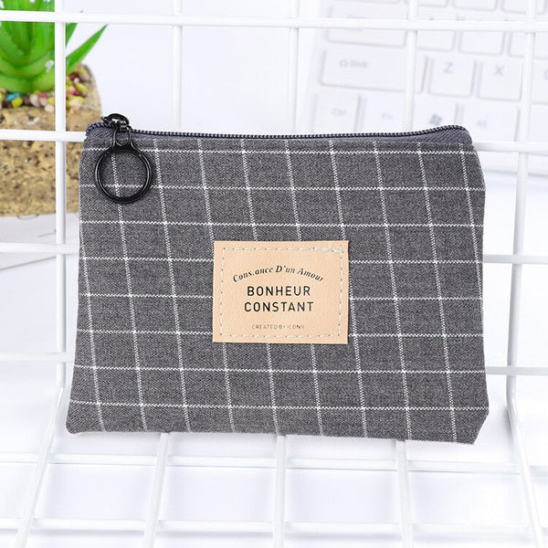 1PC Unisex Canvas Purse Card Key Mini Purse Pouch Canvas Bag Small Zipper Coin Purse Card Holder Wallet Four Colors Available