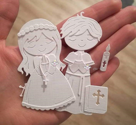 Mmao Crafts Metal Steel Cutting Dies 2019 New Praying boy girl Stencil For DIY Scrapbooking Paper/photo Cards Embossing Dies