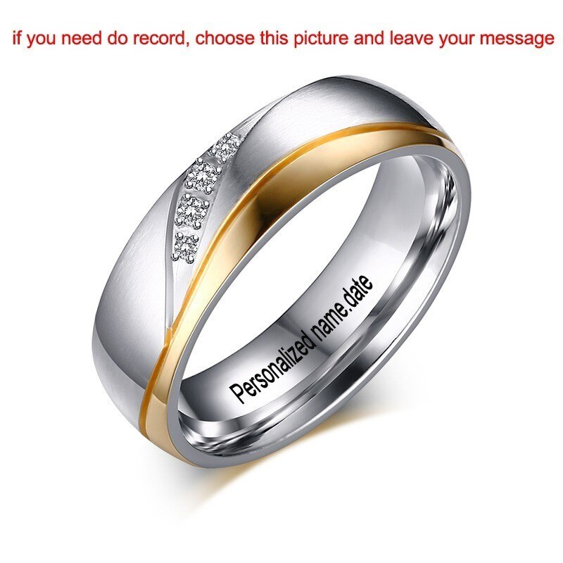 True Trust Trade Personalized Name Promised Wedding Rings For