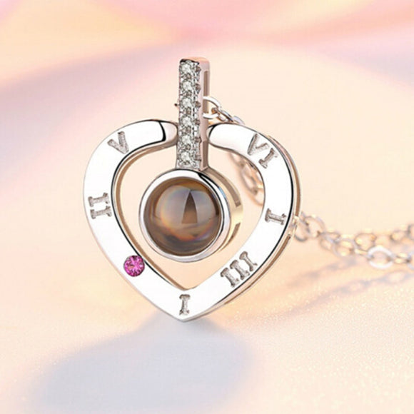 Romantic Love Memory Wedding Necklace Rose Gold&Silver 100 languages I love you Projection Pendant Necklace