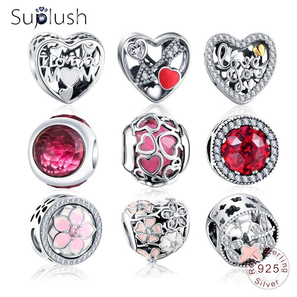 Suplush Bead Charm with Authentic 100% 925 Sterling Silver Fit Pandora Original Charms Bracelet Women DIY Jewelry Macking Gift