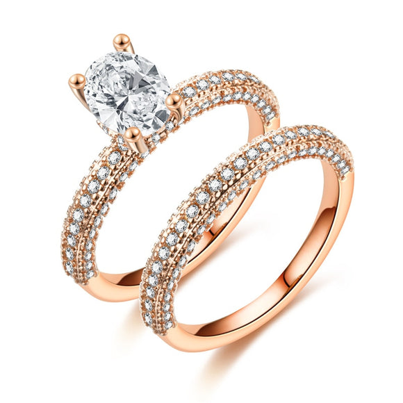 ZN 2019 Fashion High Quality AAA Cubic Zirconia Rose Gold Double Ring  Engagement Wedding Rings For Women Gift Rings