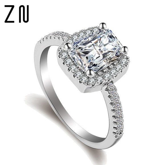 ZN Fashion Rings Show Elegant Temperament Jewelry Womens Girls White Silver Filled Wedding Ring