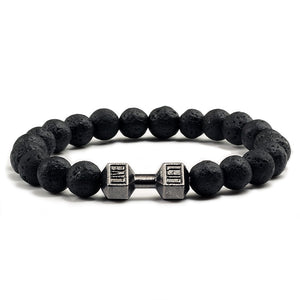 Natural Black Volcanic Lava Stone Dumbbell Bracelet