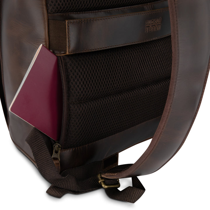 Leather Backpack Siwa brown Passport Compartment