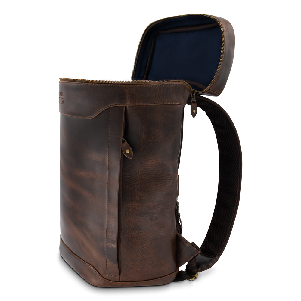 Leather Backpack Siwa brown Lining Blue