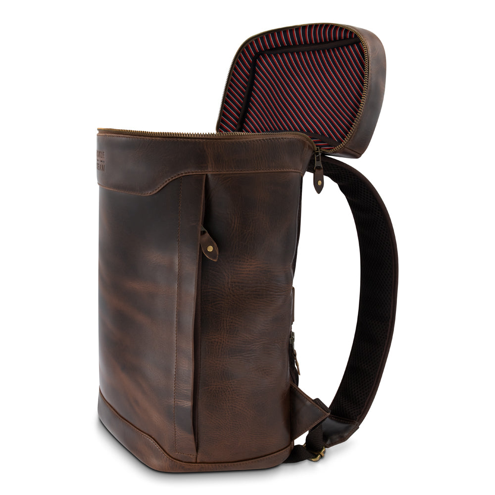 Leather Backpack Siwa brown Lining Stripes