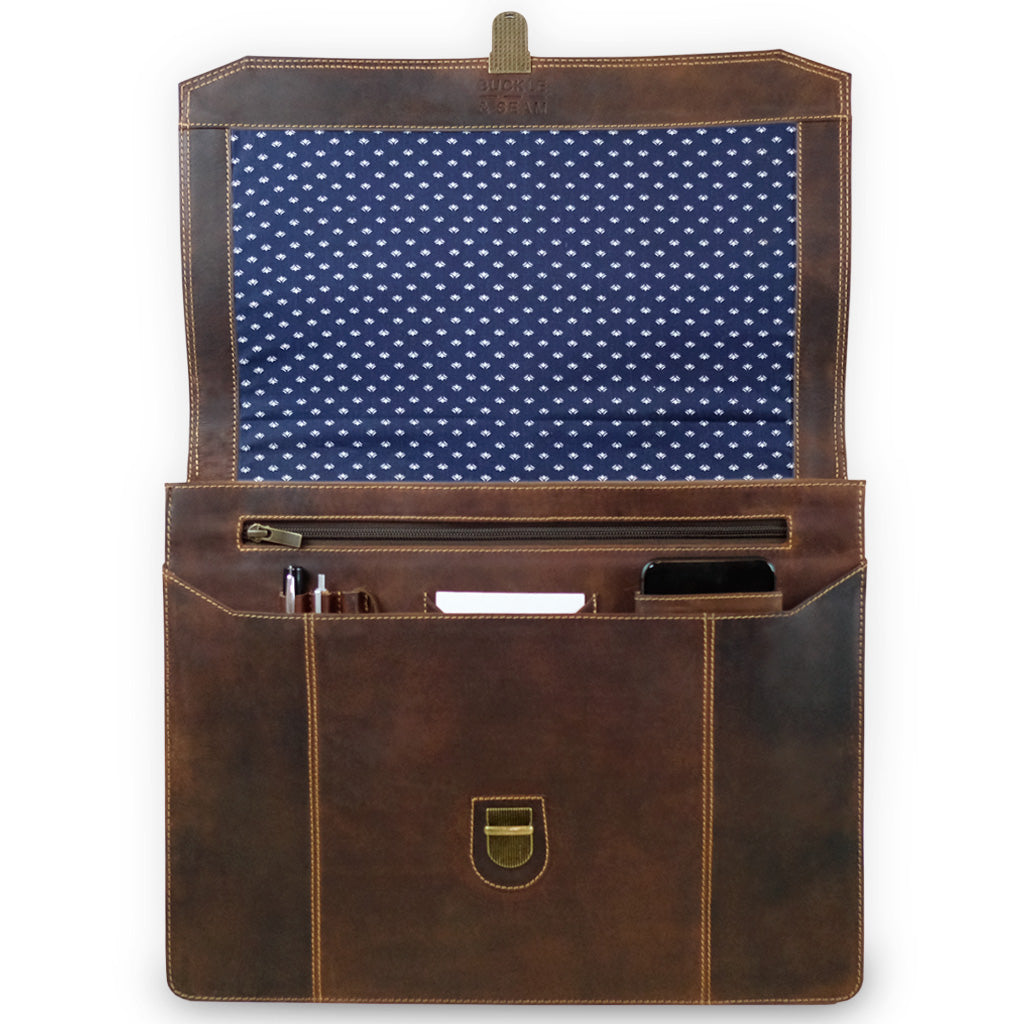 buckle & seam brown leather satchel cara for men 13 inch with inside lining dots