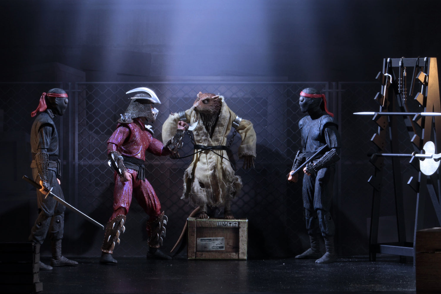 "PRE-ORDER: Teenage Mutant Ninja Turtles (1990) - Set Of Shredder, Splinter, Foot Soldier (Bladed) & Foot Soldier (Melee) 7"" Action Figures"