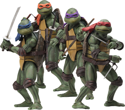 "* RETURNING * Teenage Mutant Ninja Turtles (1990) - Set Of Four Turtles 7"" Action Figures"