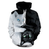 New animal-character print hoodie 3d black and white cat hoodie, 2019 brand jumper men's and women's hip-hop streetwear thin coa