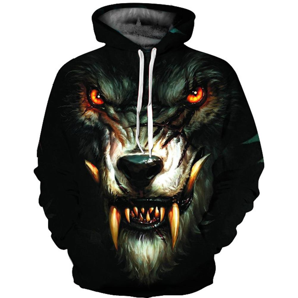 2018 New Fashion Men/Women Halloween 3D Werewolf Printed Hoodie Fashionable Hooded Pullover Loose Sweatershirt