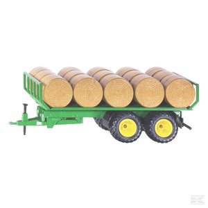 Round bale trailer with bales Scale Model 1/32