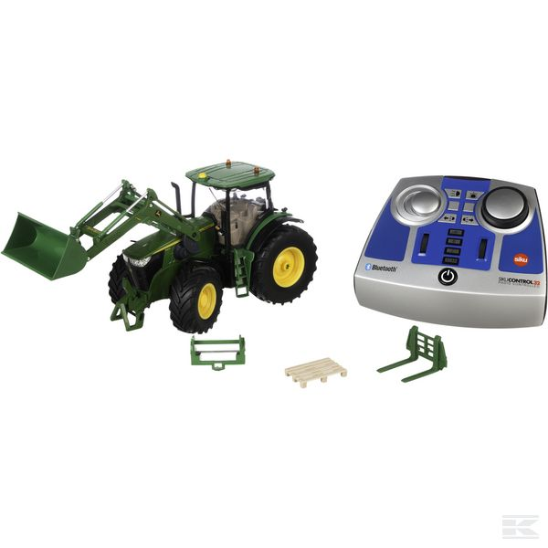 John Deere 7310R with front loader and bluetooth remote and app control