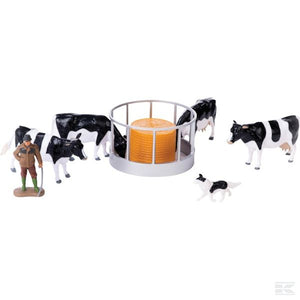 Feeding set with cows