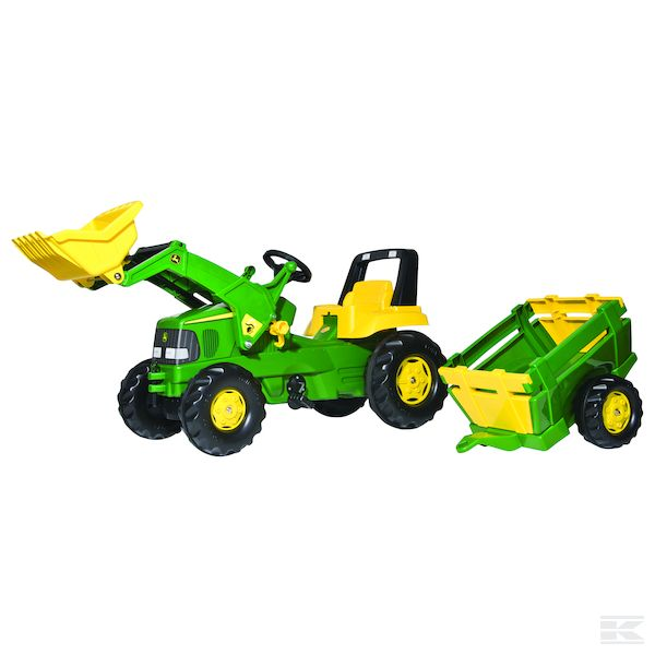 John Deere pedal tractor, with trailer and loader