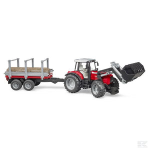 Massey Ferguson 7480 with front loader and wood-transport trailer Scale Model 1/16