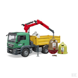 MAN TGS Truck with 3 recycling containers for glass bottles