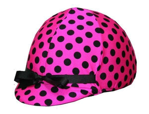 Fun Toque d'Equitation Rose a Pois Noir - sans visiere - SHOP HORSE