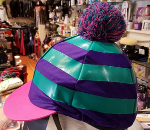Shires Toque Stripes avec PomPom - Violet/Vert/Rose - SHOP HORSE